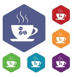 Coffee cup icon hexagon set vector