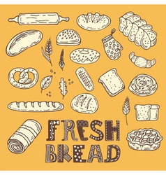 Hand drawn sketch style bakery set collection of vector