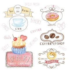 Bakerycafe logoswatercolor sweet cakes caffee vector