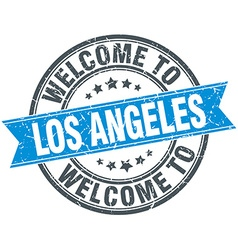Welcome to los angeles blue round vintage stamp vector