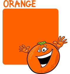 Color orange and orange fruit cartoon vector