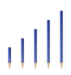 Blue wooden sharp pencils vector
