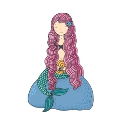 Beautiful little mermaid with shells siren vector