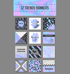 Abstract creative cards set with holographic vector