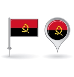 Angolan pin icon and map pointer flag vector image vector image