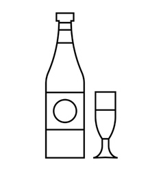Bottle and glass icon outline style vector image
