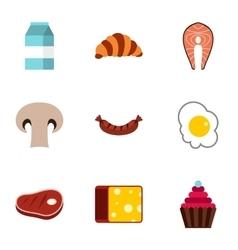 Breakfast icons set flat style vector