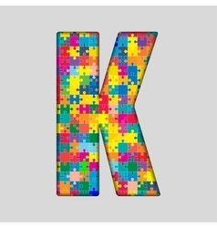 Color puzzle piece jigsaw letter - k vector