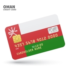 Credit card with oman flag background for bank vector