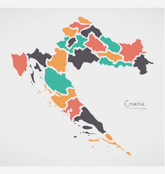 Croatia map with states and modern round shapes vector