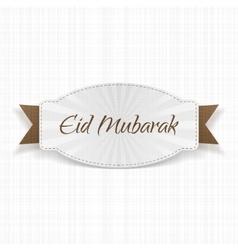 Eid mubarak festive label with ribbon vector
