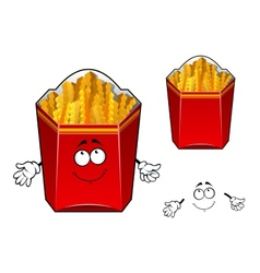 French fries wavy slices cartoon character vector image
