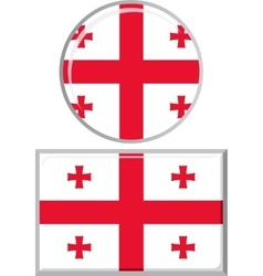 Georgian round and square icon flag vector