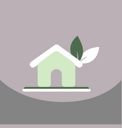 House ecology symbol icon with the leaf on roof vector