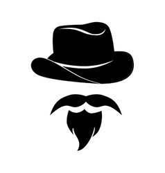 man mustache hat hipster western icon vector image vector image