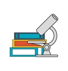 Microscope and books icon vector
