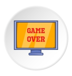 Monitor with word game over icon cartoon style vector