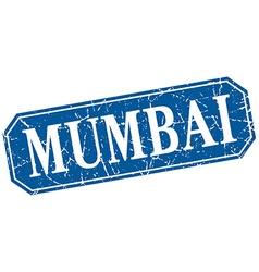 Mumbai blue square grunge retro style sign vector