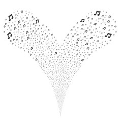 Music notes fountain stream vector