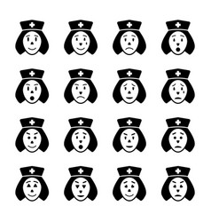 Nurse face emoticon icons set vector