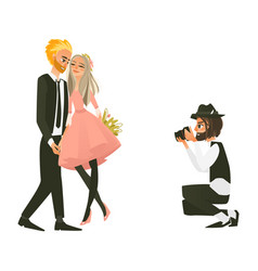 Photographer making photos couple in love vector