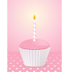 pink cupcake vector image
