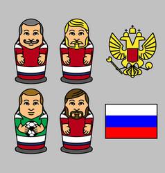 russian soccer team matryoshka doll character vector image vector image