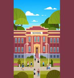 Schoolchildren going to school building exterior vector