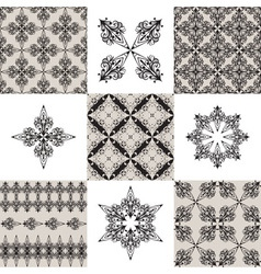 seamless vintage patterns and their elements vector image vector image