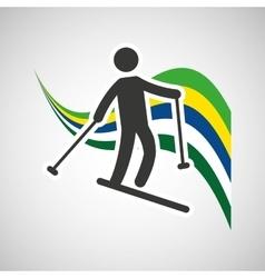 Skiing sportsman flag background design vector