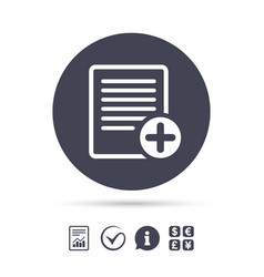 Text file sign icon add file document symbol vector