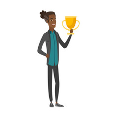 Young african-american man holding a trophy vector