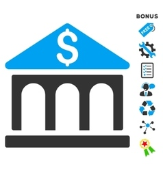 Bank building flat icon with bonus vector