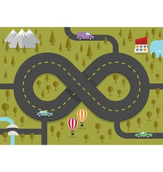 Road in the shape of infinity vector
