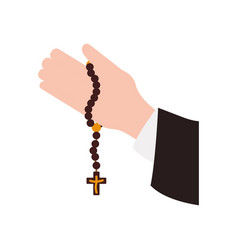 Rosary catholic faith vector