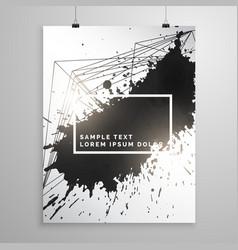 Abstract black ink splatter poster leaflet vector