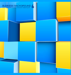 Bright background with blue and yellow cubes vector