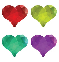 Polygonal hearts set5 vector