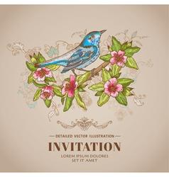 Spring Bird -Vintage Card - hand-drawn vector image