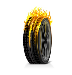 One burning tire vector
