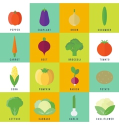 Icons with vegetables in flat vector