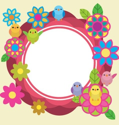Birds and flowers cute background vector