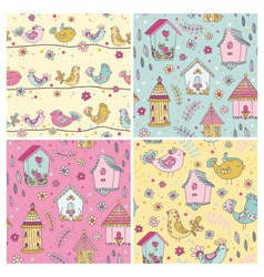 Set of Seamless Patterns - Cute Birds Backgrounds vector image