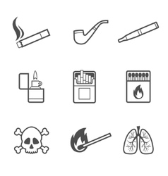 Smoking line style icons set 9 elements vector