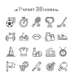 Set of black icons sport equipment on white vector