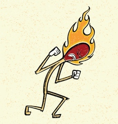 Burning match man vector