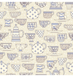 Seamless pattern with teacups and teapots vector