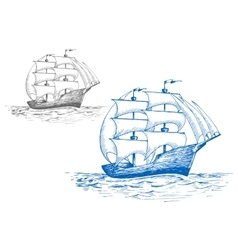 Sailing brig in ocean under full sail vector
