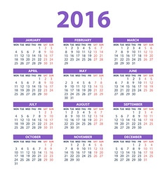 2016 calendar - color design vector