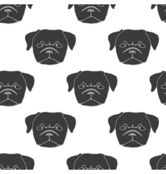 Seamless pattern with pug puppy vector